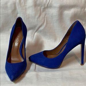 Aldo blue 6.5 pointy toe snakeskin textured pumps